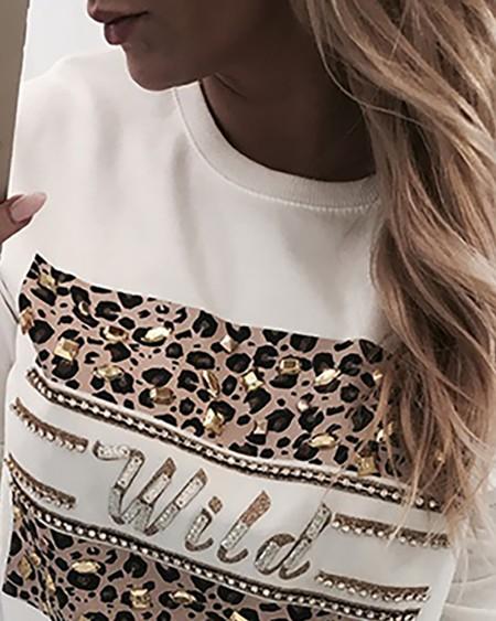 Hot Stamping Leopard Print Round Neck Sweatshirt
