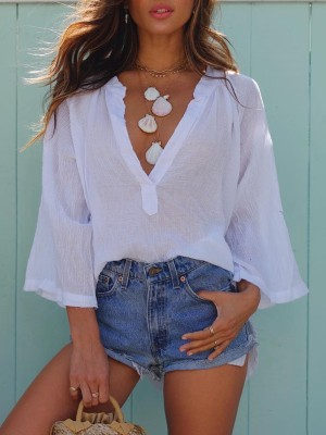 Deep V Solid Flare Sleeve Loose Blouse