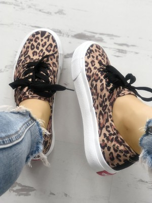Fashion Leopard Lace-Up Casual Sneakers