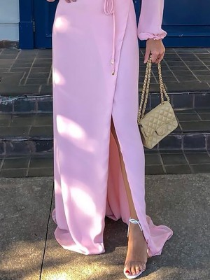 Solid Choker Long Sleeve Slit Maxi Dress