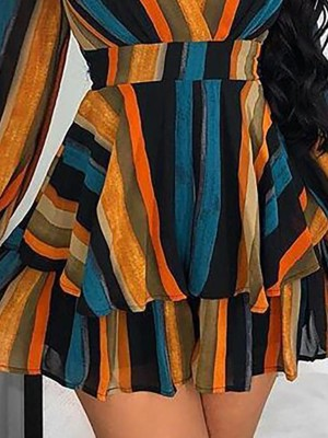 Multi Color Stripes Layered Ruffles Mini Dress