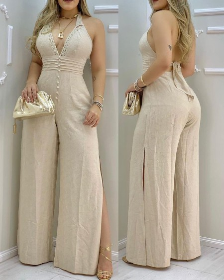 Lace Trim Buttoned Backless Slit Jumpsuit