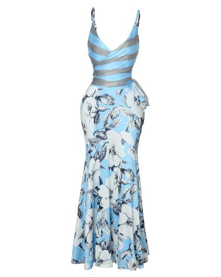 boutiquefeel / Floral Print Wrapped Tied Side Maxi Dress