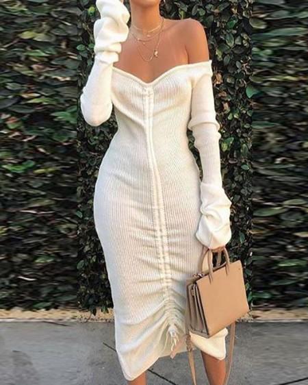 Off Shoulder Drawstring Design Dress