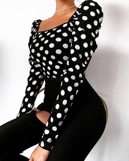 Dot Print Puffed Sleeve Blouse