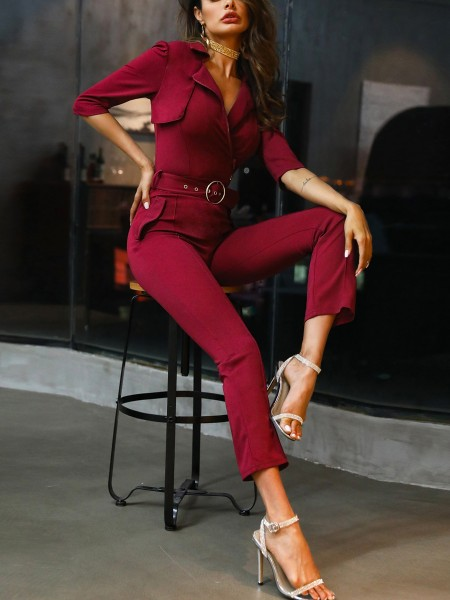 Zip & Button Detail Belted Jumpsuit