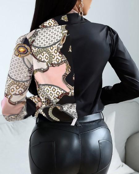 Scarf Chain Print Button Design Shirt
