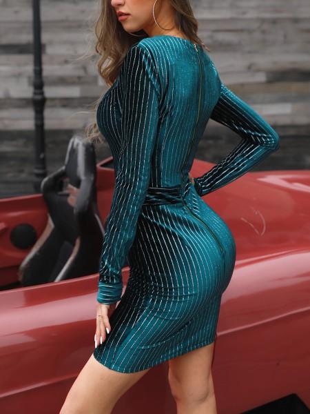 Glitter Long Sleeve Bodycon Velvet Dress