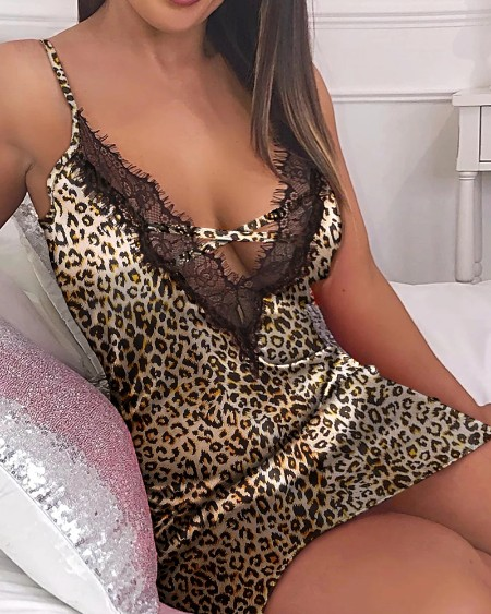 Cheetah Print Spaghetti Strap Lace Trim Nightgown