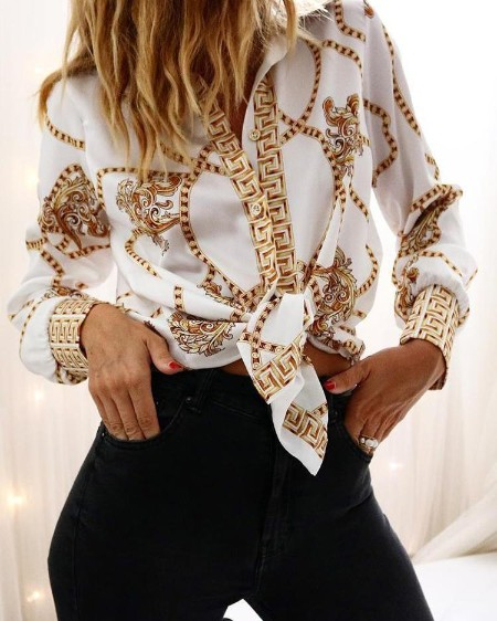 Chain Print Long Sleeve Casual Shirt