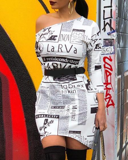 Newspaper Print Long Sleeve Bodycon Dress
