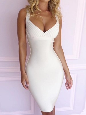 White Spaghetti Strap Elastic Bodycon Dress