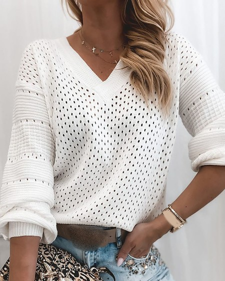 Solid Hollow Out  Long Sleeve Casual Sweater