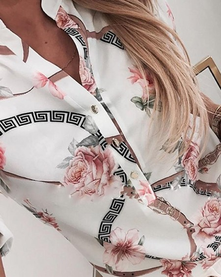 Floral Print Short Sleeve Casual Shirt