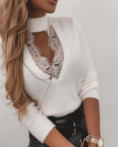 Eyelash Lace High Neck Long Sleeve Casual Sweater