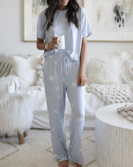Star Print Drawstring Short Sleeve Pajamas Set