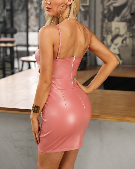 Spaghetti Strap Cutout Coated PU Bodycon Dress