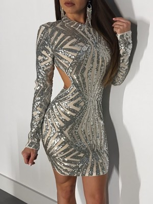 Sparkly Sequined Open Back Bodycon Mini Dress