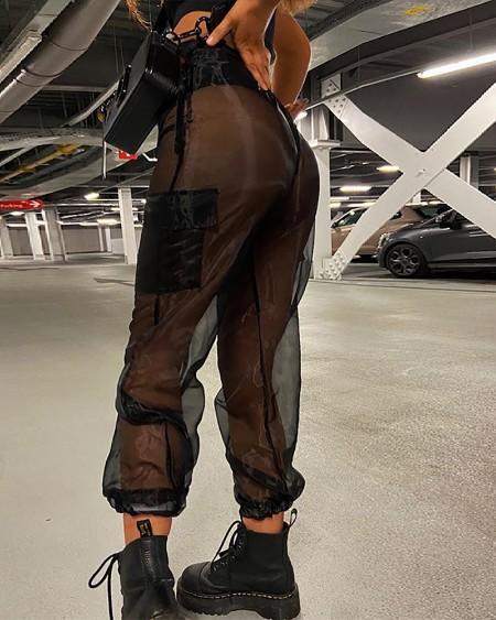 Sheer Mesh Pocket Design Pants