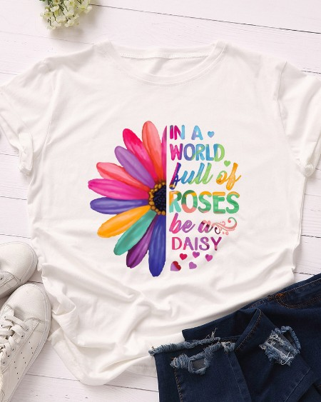 Letter Sunflower Print Casual T-shirt