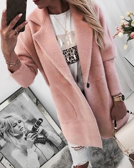 Single Buttoned Long Sleeve Pocket Coat