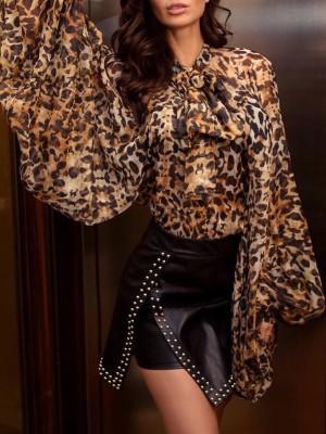 Leopard Print Tied Neck Lantern Sleeve Blouse