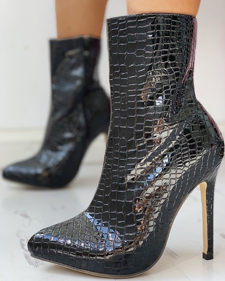 boutiquefeel / PU Pointed Toe Thin Heeled Boots