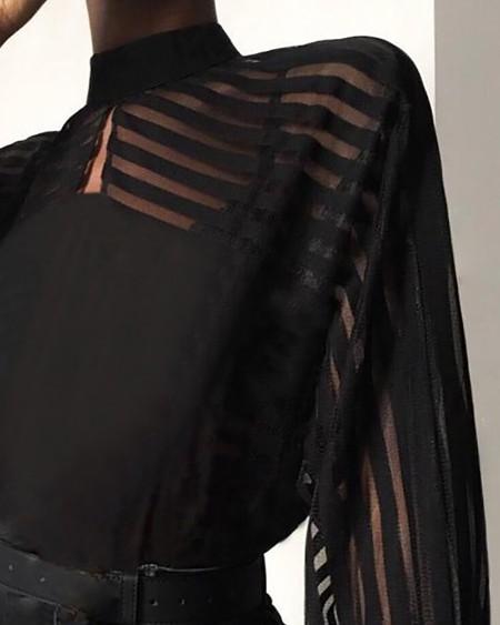 Striped Sheer Mesh Long Sleeve High Neck Blouse