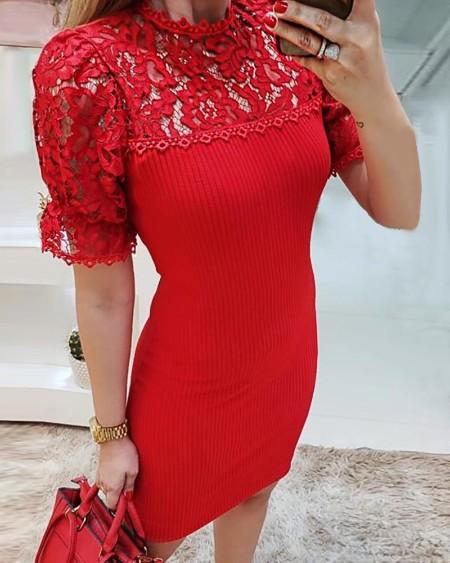 Lace Yoke Ribbed Bodycon Dress
