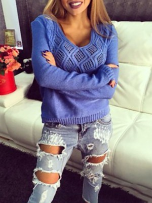 Autumn Hollow Out V Neck Knitted Sweater