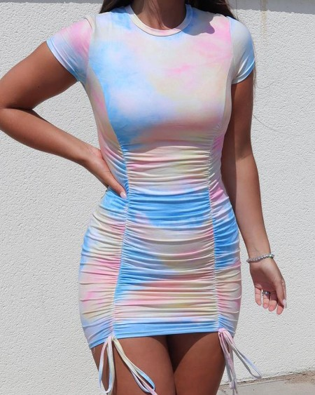 Tie Dye Print Ruched Bodycon Dress
