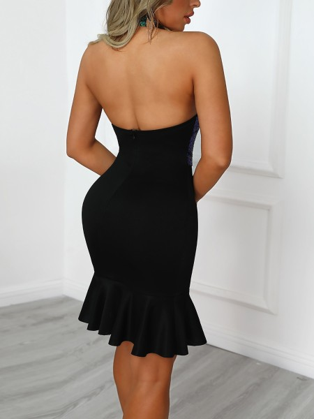 Halter Backless Fishtail Sequin Party Dress