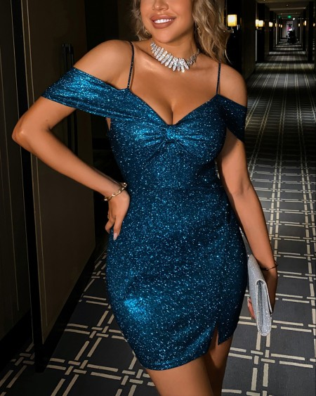 Cold Shoulder Glitter Bodycon Dress