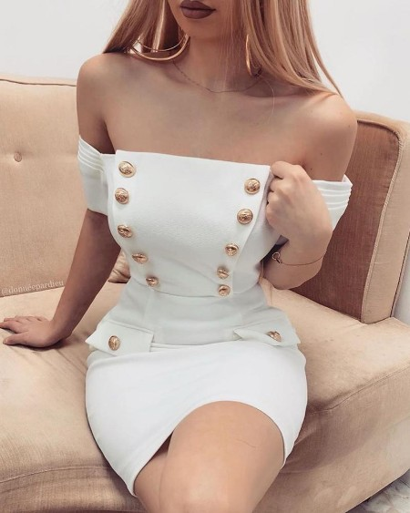 Buttoned Off Shoulder Bodycon Dress