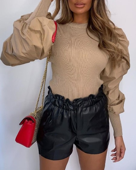 Solid Patchwork Chiffon Puff Sleeve Blouse