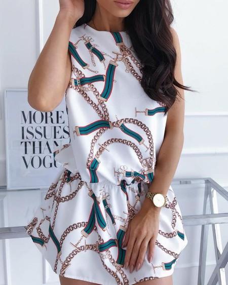 Chain Print Slit Back Casual Dress