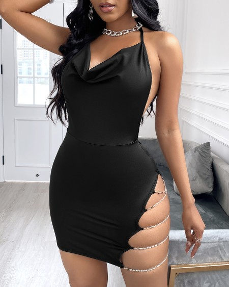 Cutout Chain Design Spaghetti Strap Bodycon Dress
