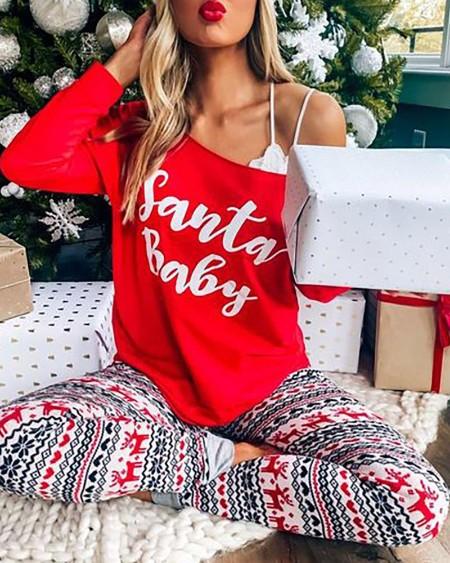 Christmas Letter Print Long Sleeve Pajamas Set