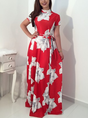 Floral Print Mock Neck Belted Ruched Maxi Dress