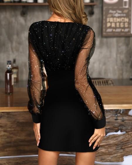 Glitter Semi Sheer Mesh Bodycon Dress