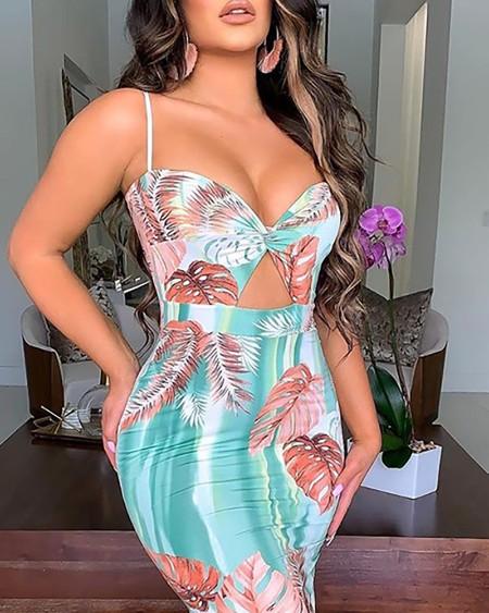 Leaf Print Cutout Front Ruched Maxi Dress