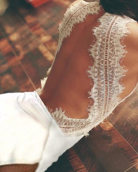 Eyelash Lace Trim Backless High Slit Dress
