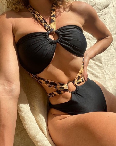 Leopard Lace-up Solid Color O-ring Cut-out Sleeveless One-Piece Bikini Sets