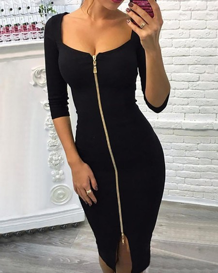 Sexy Zipper Up Split Bodycon Dress