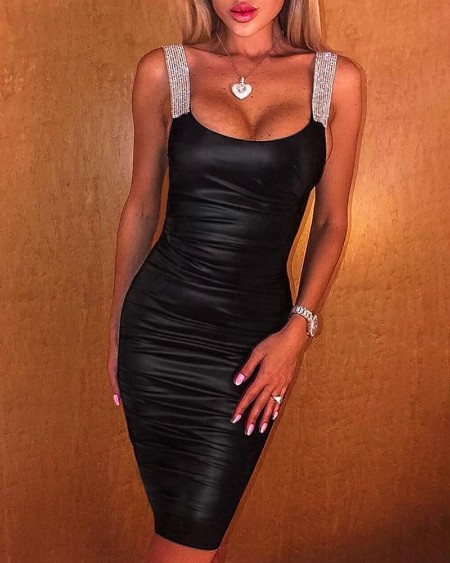 Glitter Thin Strap Ruched Bodycon Dress