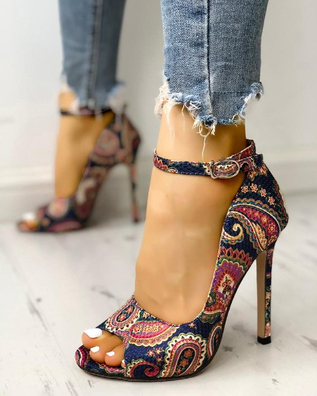 6f29cc229f0 Ethnic Print Peep Toe Ankle Strap Thin Heeled Sandals ...