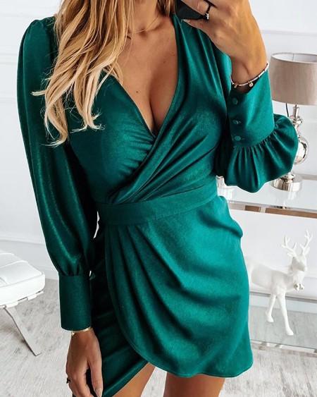 V Neck Ruched Detail Wrap Mini Dress