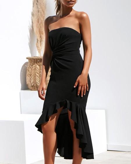 Ruched Twist Design Tube Fishtail Dress