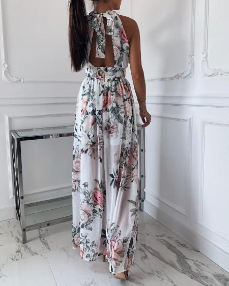 Floral Print Knotted Backless slit Dress