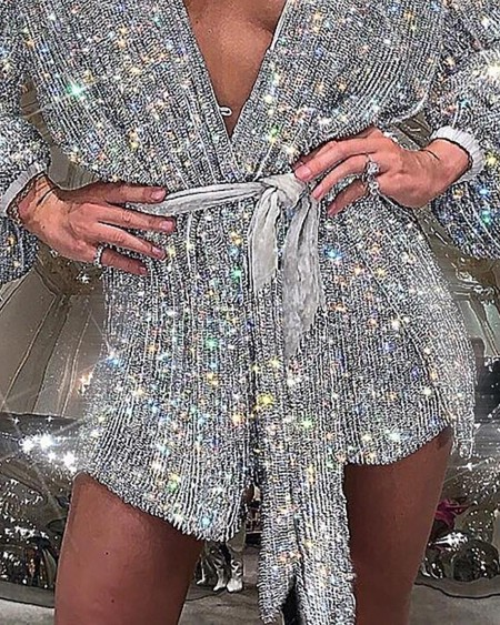 Glitter Long Sleeve Sequins Dress